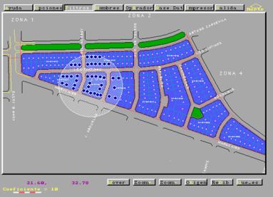 Captura de imagen de MicroGIS - Plano Catastral y Buffer de Puntos -