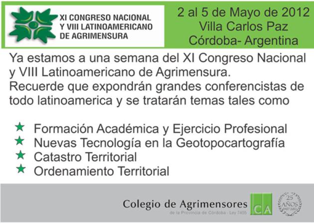 XI Congreso Nacional y VIII Latinoamericano de Agrimensura