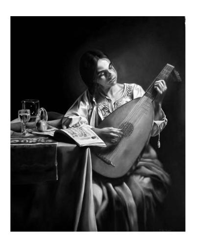 Pintura de Carla Del Bianco, fotografía en blanco y negro