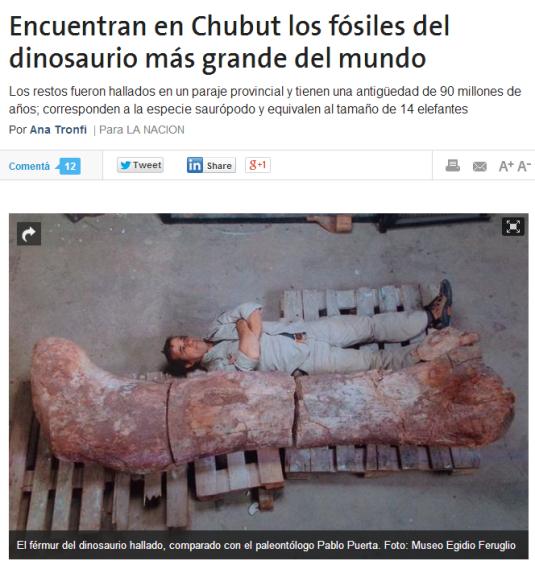 """Noticia del Diario """"La Nacíón"""""""