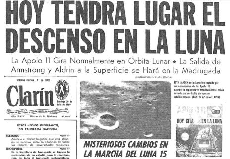 Parte de la tapa del diario Clarín del 20 de Julio de 1969