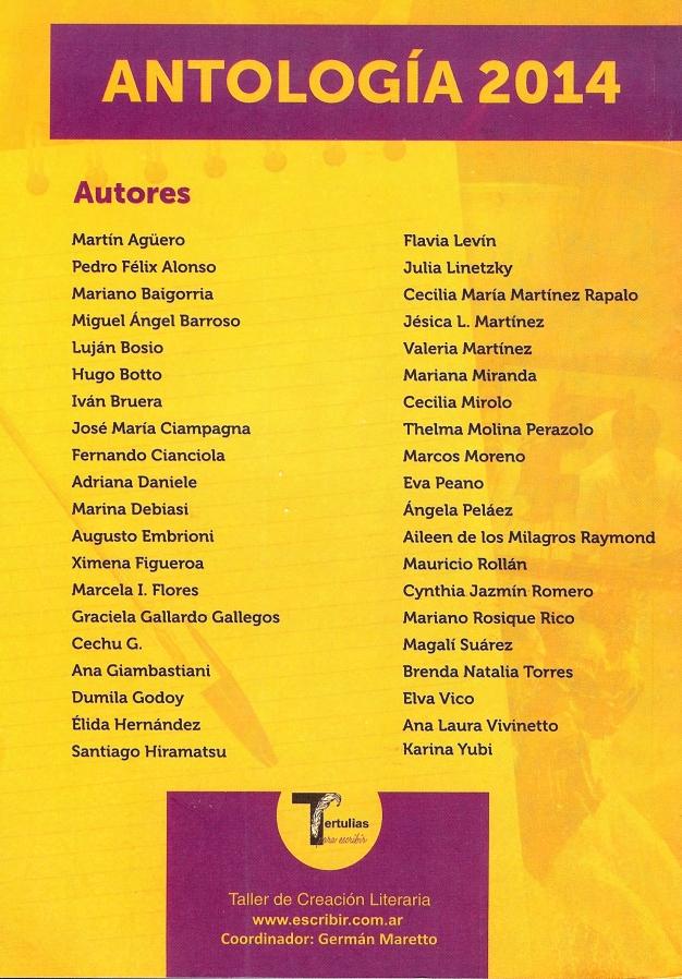 Contratapa de la Antología 2014