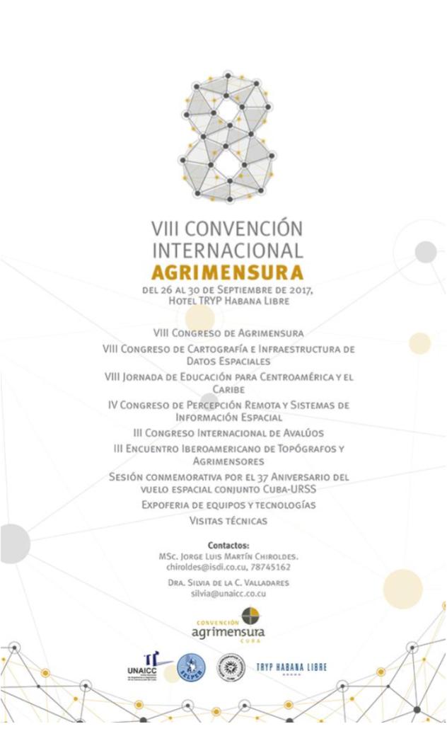 VIII Convención Internacional Agrimensura, septiembre 2017, La Habana, Cuba