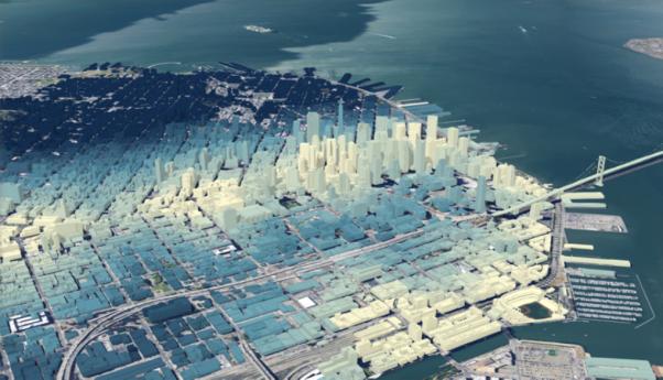Esta escena en 3D muestra la transitabilidad de San Francisco, California. Las blancas son las áreas más accesibles, mientras que las azules oscuras son las menos. Tal vez no sea algo en lo que conscientemente pensamos mientras nos movemos en una ciudad, pero es así como se representa en una computadora. Los créditos de la imagen pertenecen a Esri.